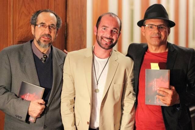 Adriano Espínola, Igor Fagundes e José Inácio Vieira de Melo: reunião de poetas no