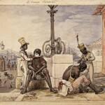 Artista Jean Baptiste Debret_1768 1848_barbeiros ambulantes_1826_aquarela_18,7 x 23,5 cm