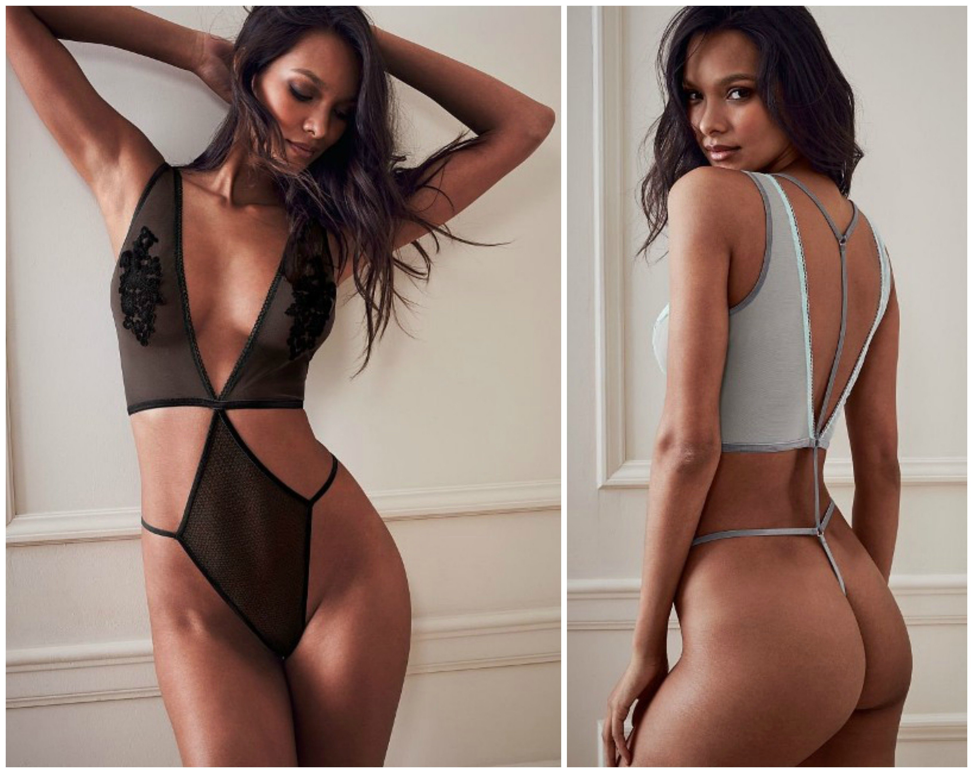 A modelo Laís Ribeiro com duas peças da nova coleção de lingerie da Victoria's Secrets / Fotos: divulgação