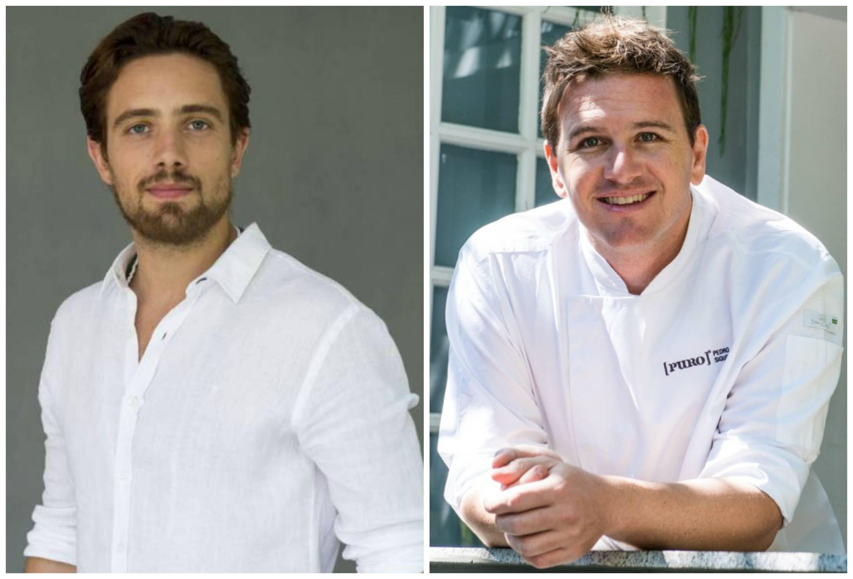 Rafael Cardoso e o chef Pedro Siqueira: os sócios no restaurante Puro vão para a cozinha, juntos, domingo / Fotos: TV Globo e Thomas Rangel