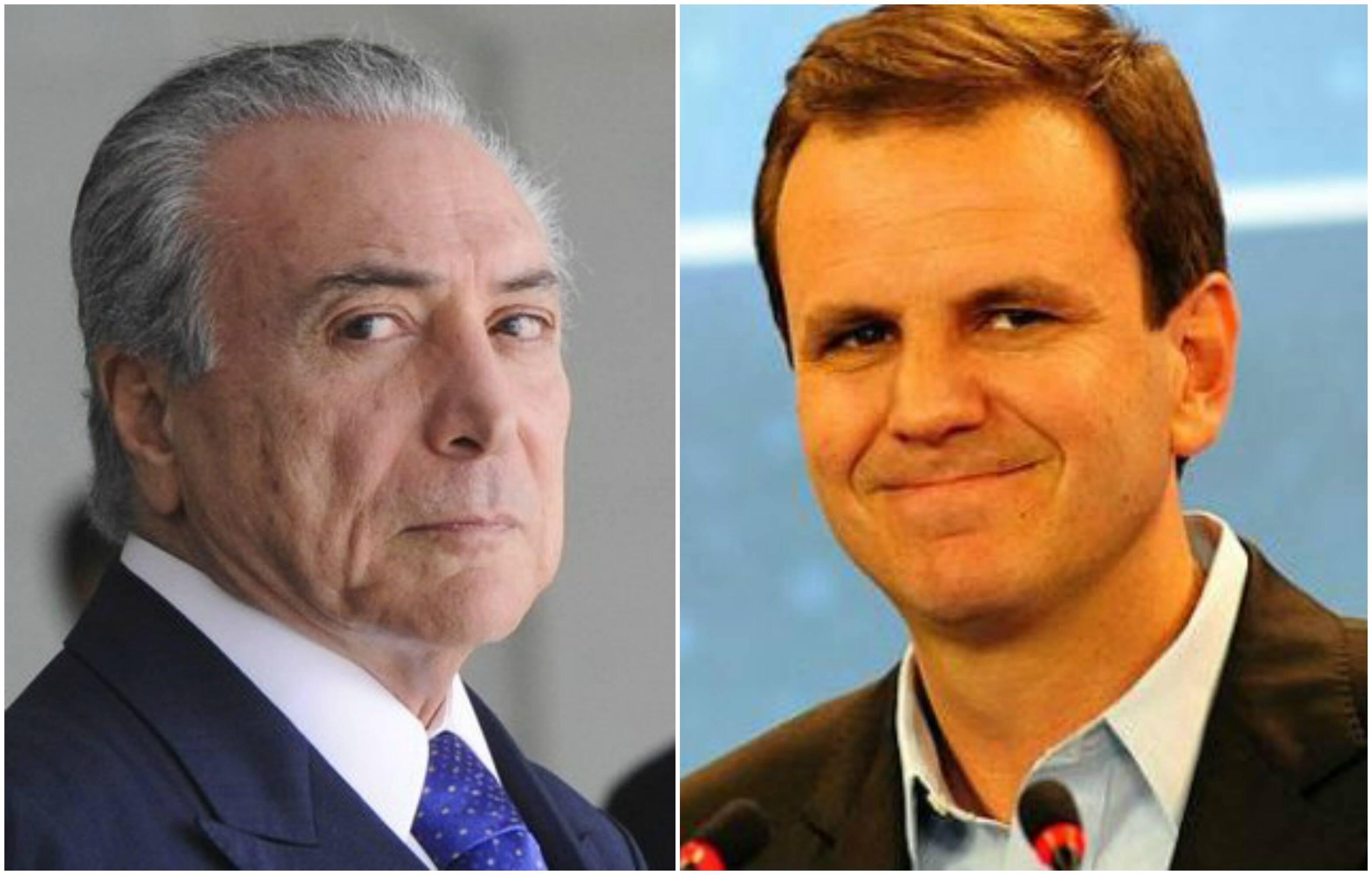 O presidente da República em exercício Michel Temer e o prefeito do Rio Eduardo Paes / Fotos: IG