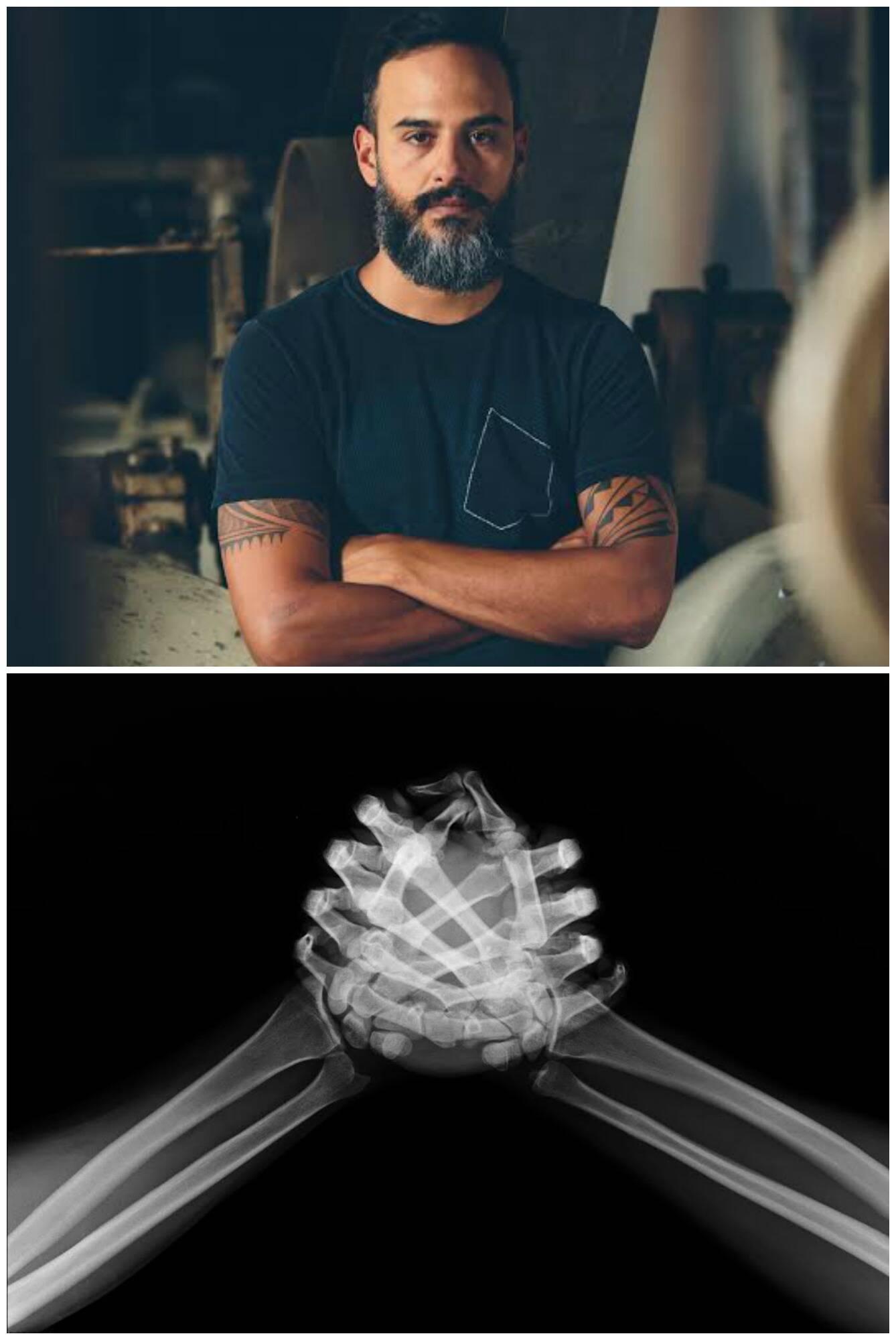 Marcelo Marins e um de seus trabalhos /Foto: Candé Salles
