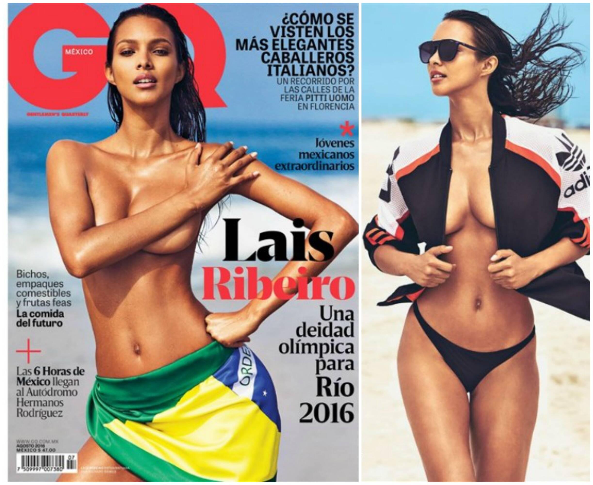 A modelo Laís Ribeiro é a capa e o recheio da edição mexicana da revista masculina GQ, dedicada às Olimpíadas do Rio / Fotos: divulgação