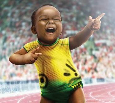 """Imagem que o advogado Helinho Saboia escolheu para ilustrar sua postagem: """"Legado olímpico: em nove meses, nasce no Rio Usain Bolt Júnior"""""""
