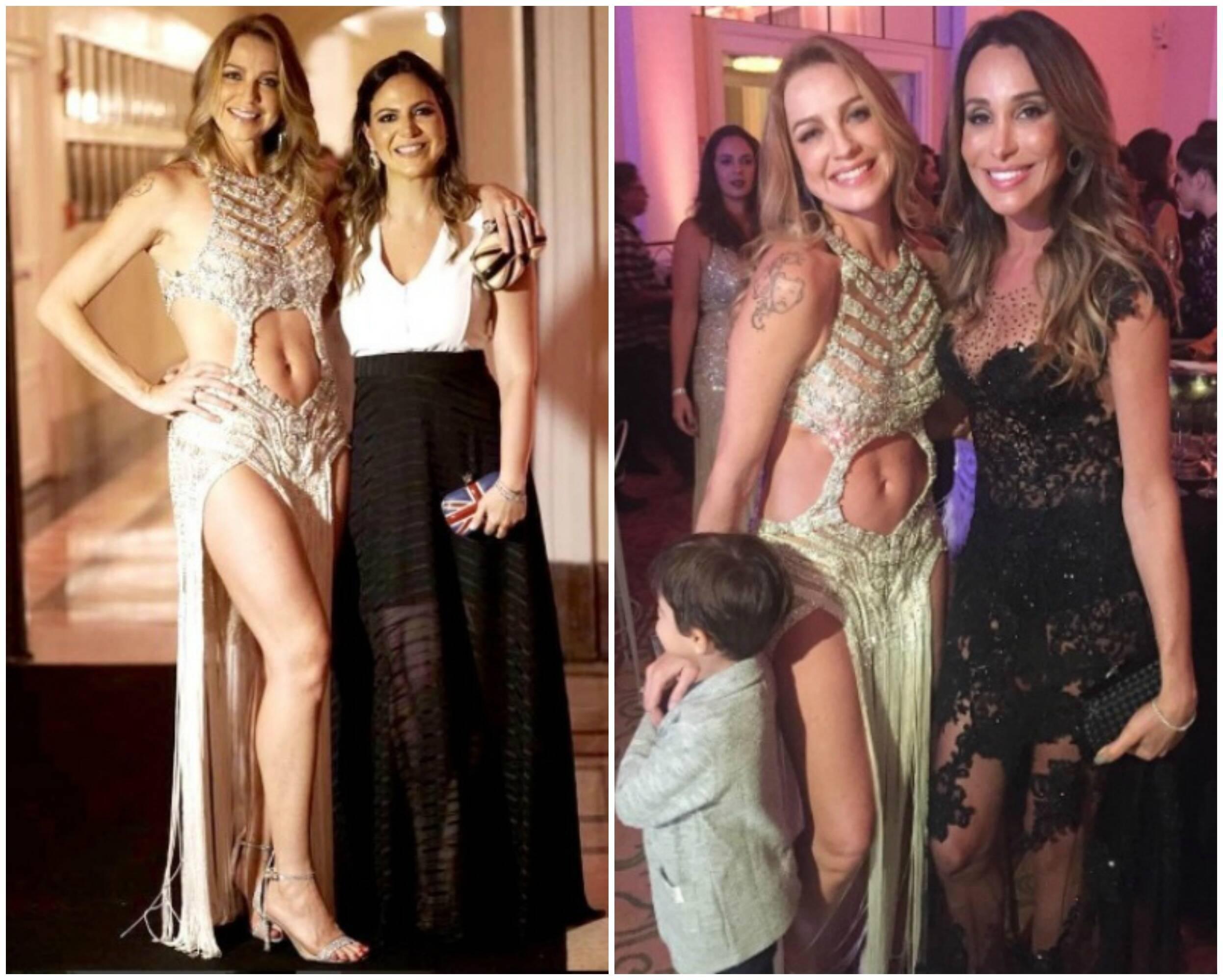 Luana Piovani e Carol Sampaio, à esquerda; ao lado, a atriz, o filho Dom e a modelo Carol Marra / Fotos: reprodução do Instagram