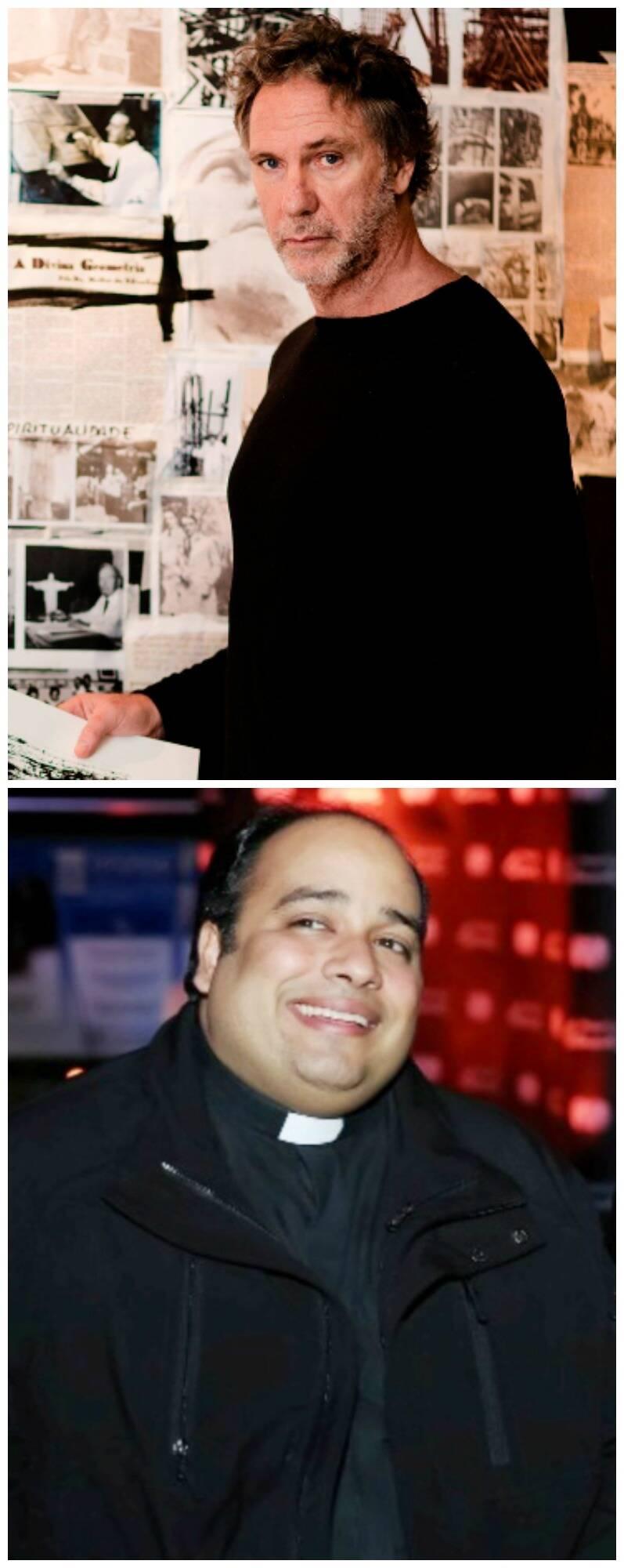 No alto, o artista plástico e empresário Oskar Metsavaht; acima, o padre Omar Raposo, do Santuário Cristo Redentor/ Fotos: divulgação e Miguel Sá