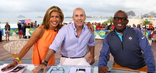 Os apresentadores do Today Show Hoda Kotb, Matt Todd Lauer e Al Roker: direto do deck na praia do Lema / Foto: Facebook