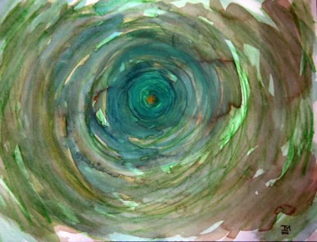 No alto, Ione Manzali; acima, uma de suas telas de pintura meditativa zen budista  / Foto: divulgação