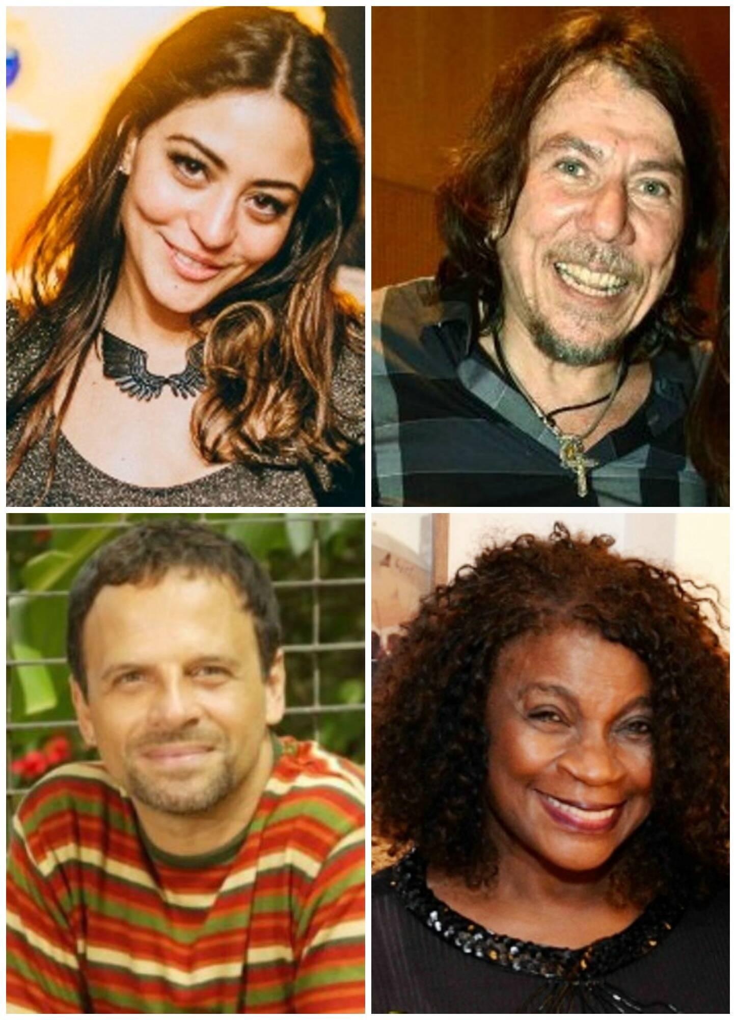 Cristina Braga, no alto; acima, em sentido horário, Carol Castro; Lenine; Zezé Motta; Marcos Breda / Fotos: Marcos Samerson, Reginaldo Teixeira e divulgação