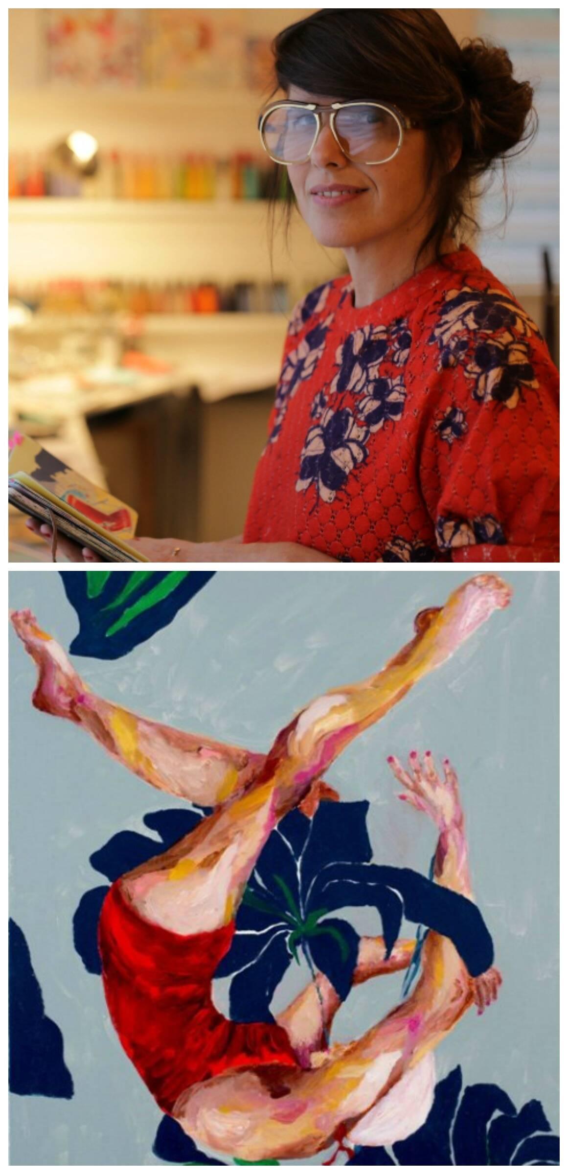 No alto, Katia Wille; acima, uma das nadadoras retratadas pela artista como se fossem deusas / Fotos: divulgação