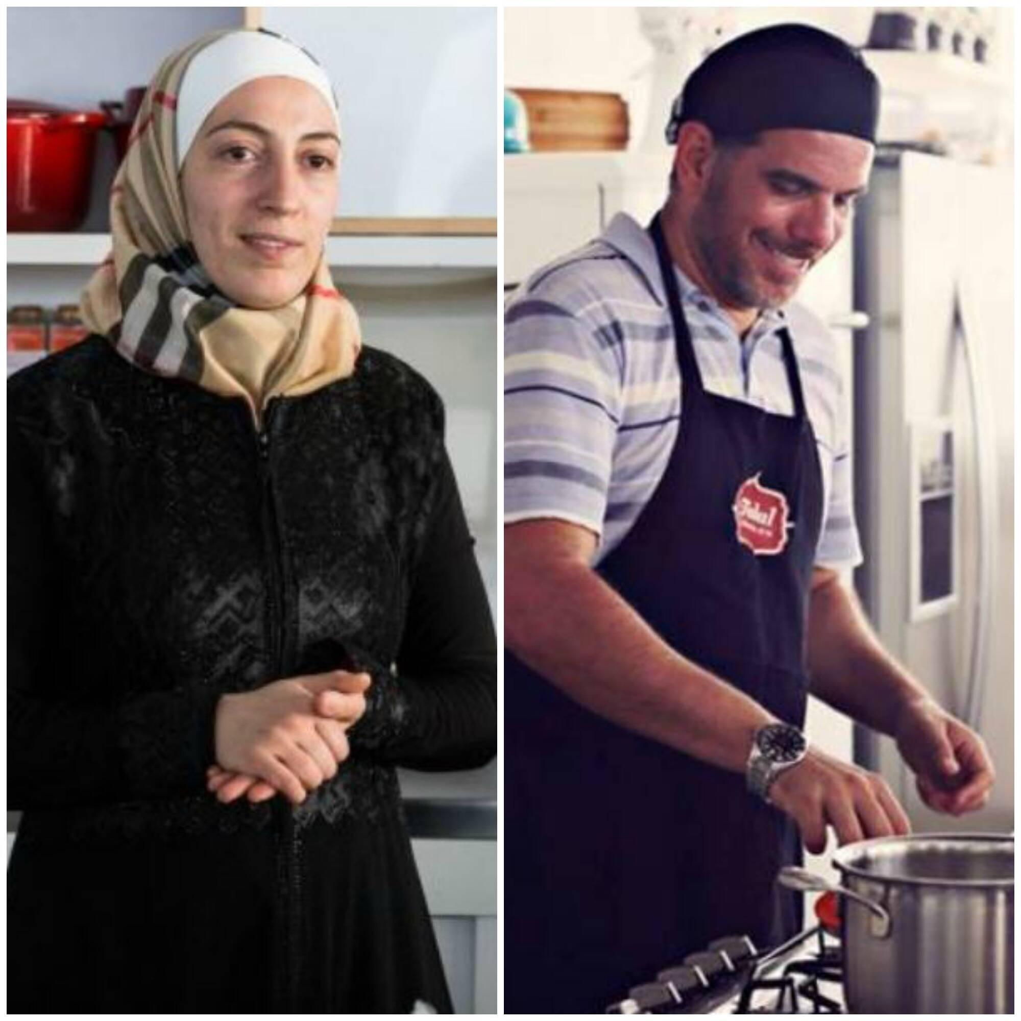 Talal Al-Tinawi e Ghazal Baranbo: o casal de refugiados sírios está no comando da cozinha do Reffetorio, nesta segunda (05/09) / Fotos: Ilana Goldsmid