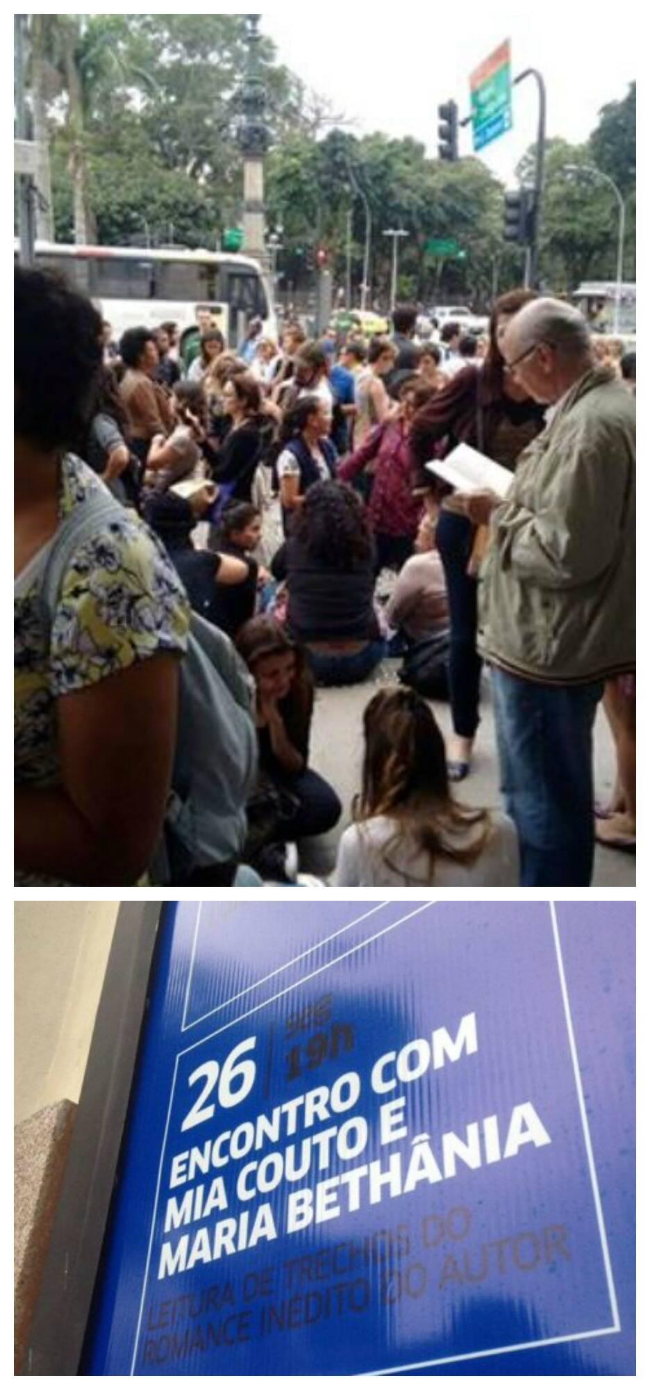 A calçada da Sala Cecília Meireles: desde cedo é grande a fila de fãs para o recital de Maria Bethânia do livro de Mia Couto / Fotos: divulgação