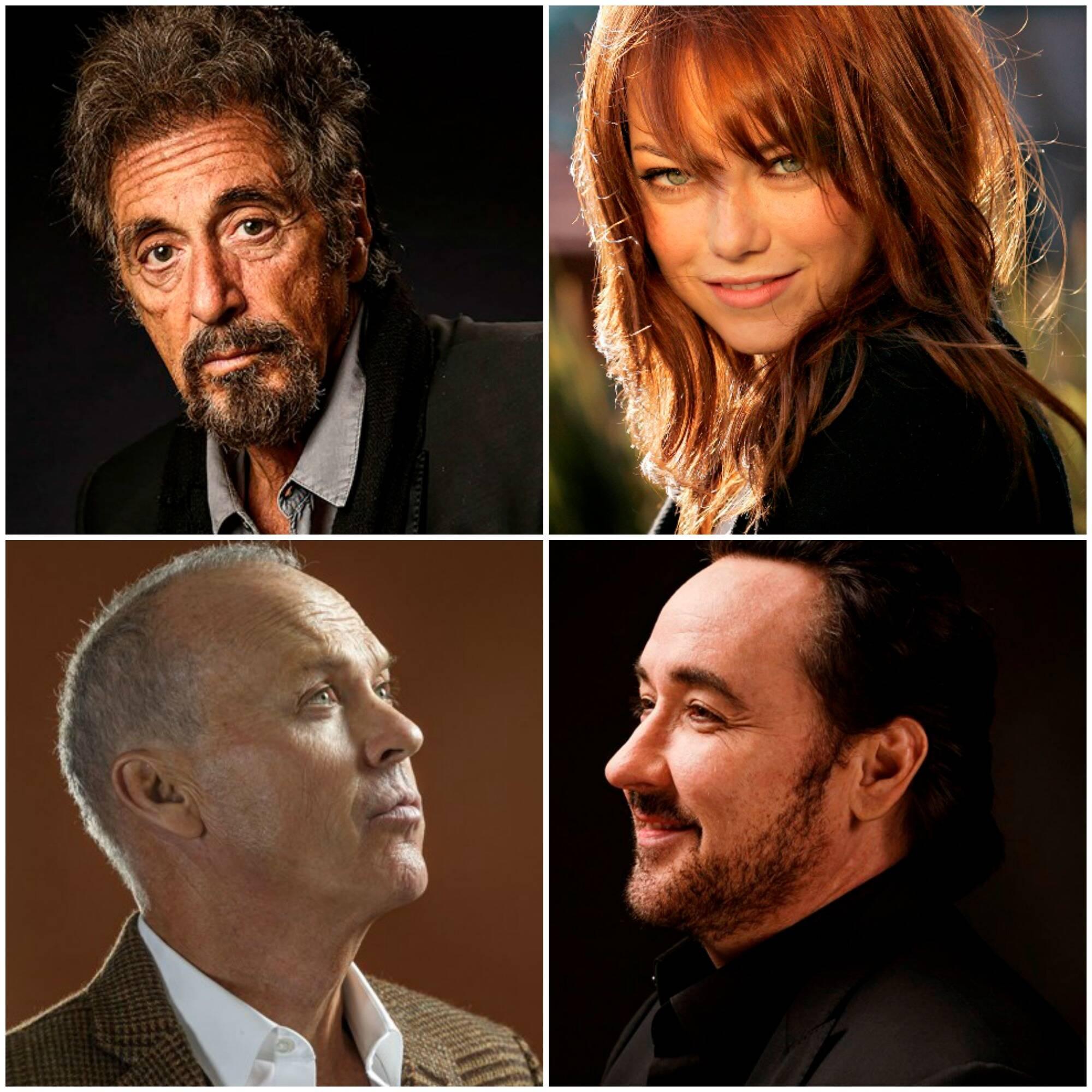 Em sentido horário, Al Pacino, Emma Stone, John Cusack e Michael Keaton, pelas lentes de  Ricardo DeAratanha / Foto: divulgação