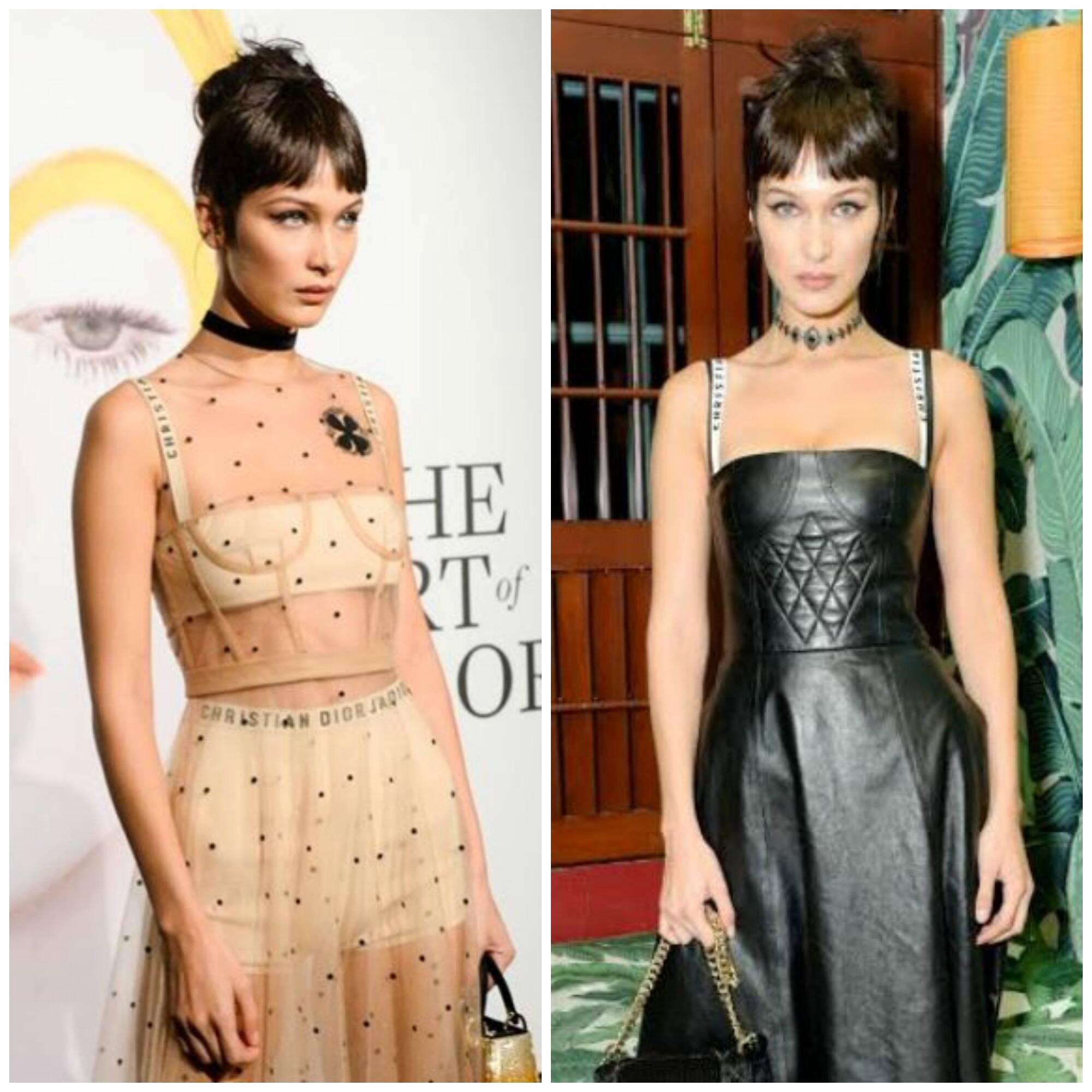 A modelo Bella Hadid vestiu dois modelos da primeira coleção de Maria Grazia Chiuri assinada para a Dior / Fotos: divulgação