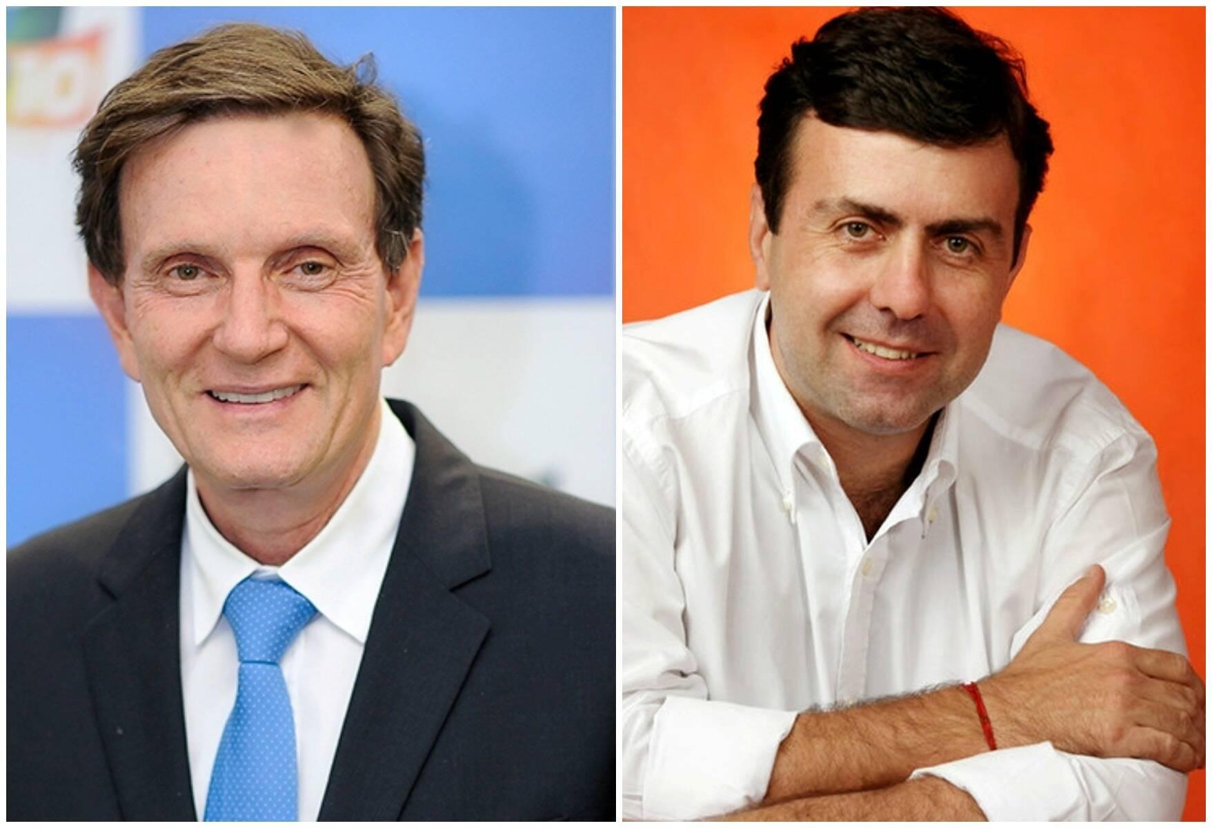 Os candidatos à prefeitura do Rio, Marcelo Crivella e Marcelo Freixo: embate do eleitorado continua, mesmo depois da vitória do primeiro / Fotos: IG