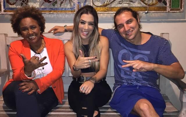 Sandra de Sá, a DJ Larissa Lahw e o músico Rodrigo Shá: toque eletrônico em festival sertanejo / Foto: divulgação