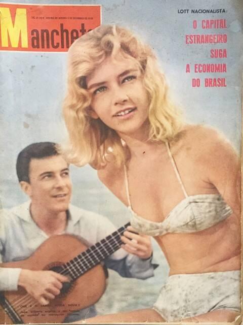 Ira Etz, no alto, com seu livro nas pedras do Arpoador; acima, numa capa da antiga revista Manchete, com João Gilberto / Fotos: divulgação