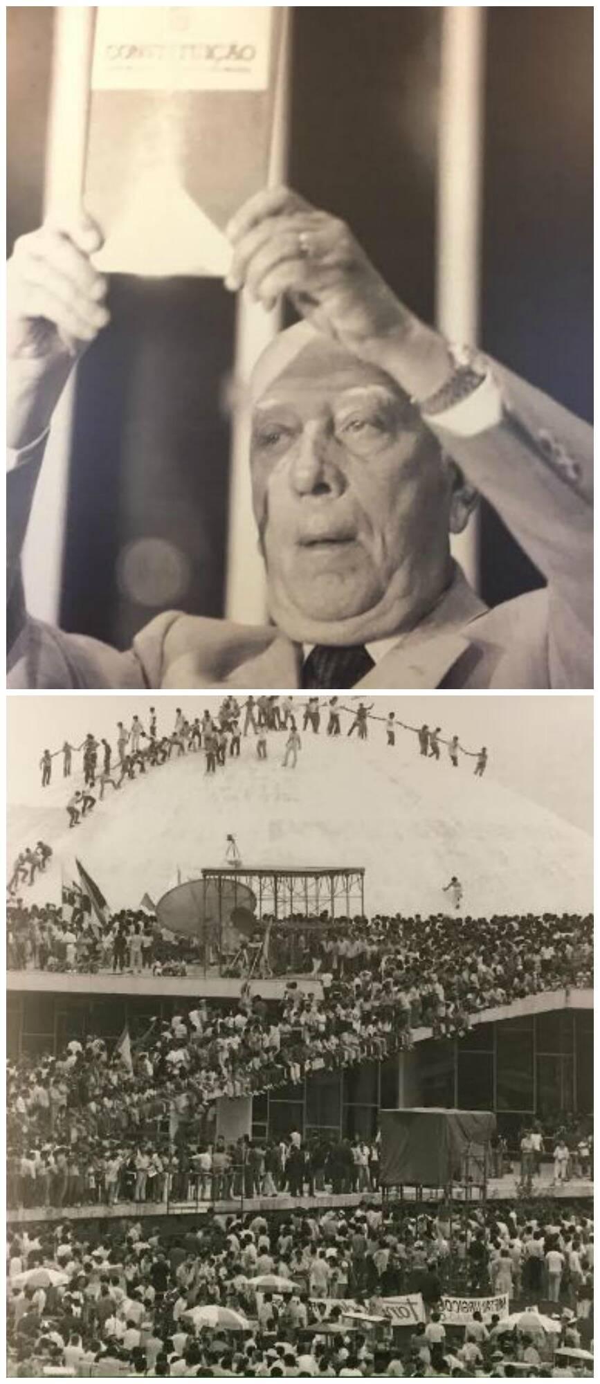 Ulysses Guimarães, no alto, levantando um exemplar da Constituição; acima, a multidão tomando o Congresso no movimento das Diretas, Já / Fotos: arquivo da Biblioteca Nacional