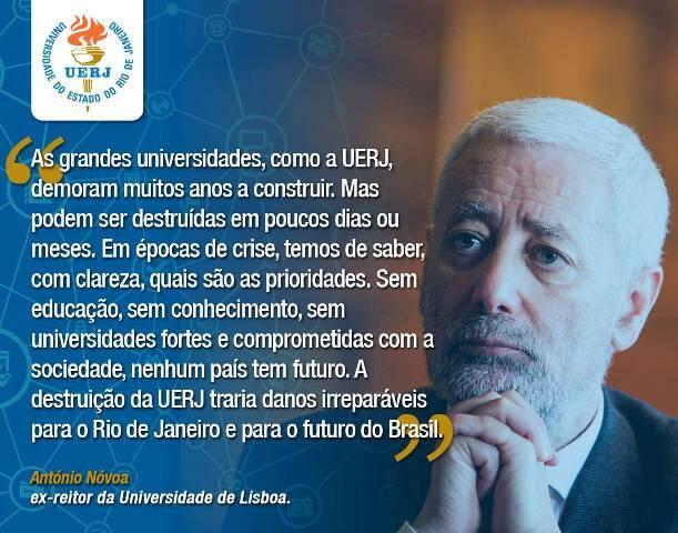 O ex-reitor da Universidade de Lisboa António Nóvoa é um dos acadêmicos estrangeiros que mandaram mensagem de solidariedade à Reitoria da UERJ / Foto: reprodução