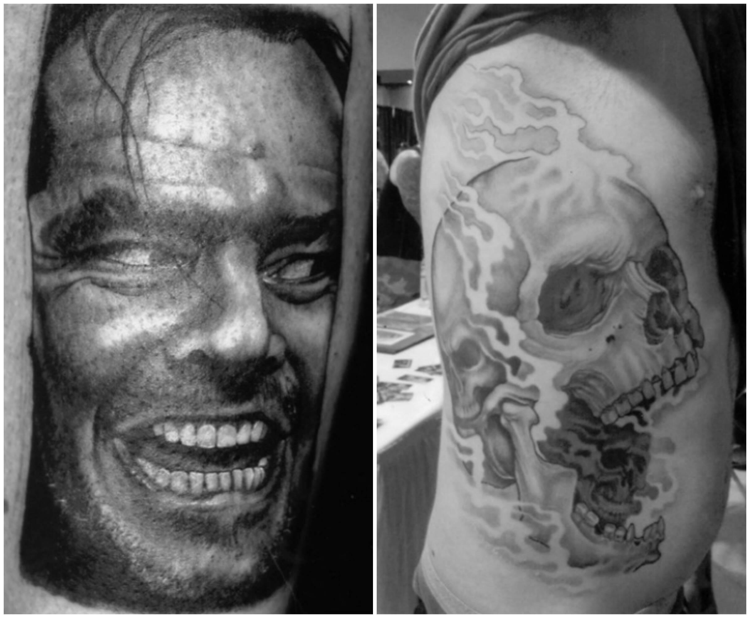 """No alto, o tatuador Steve Tefft; acima, duas tatuagens de sua autoria: a primeira, a famosa imagem de Jack Nicholson no filme """"O Iluminado""""; a outra, de uma caveira, um dos seus temas preferidos / Fotos: divulgação"""