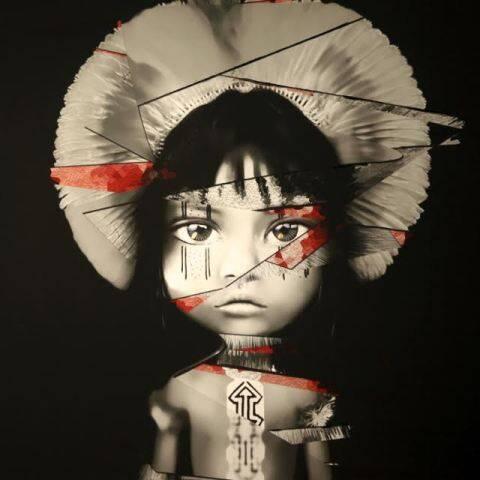 Um dos quadros-manifesto pintados por Juliana Helcer para a causa dos índios Fulni-Ô / Foto: divulgação