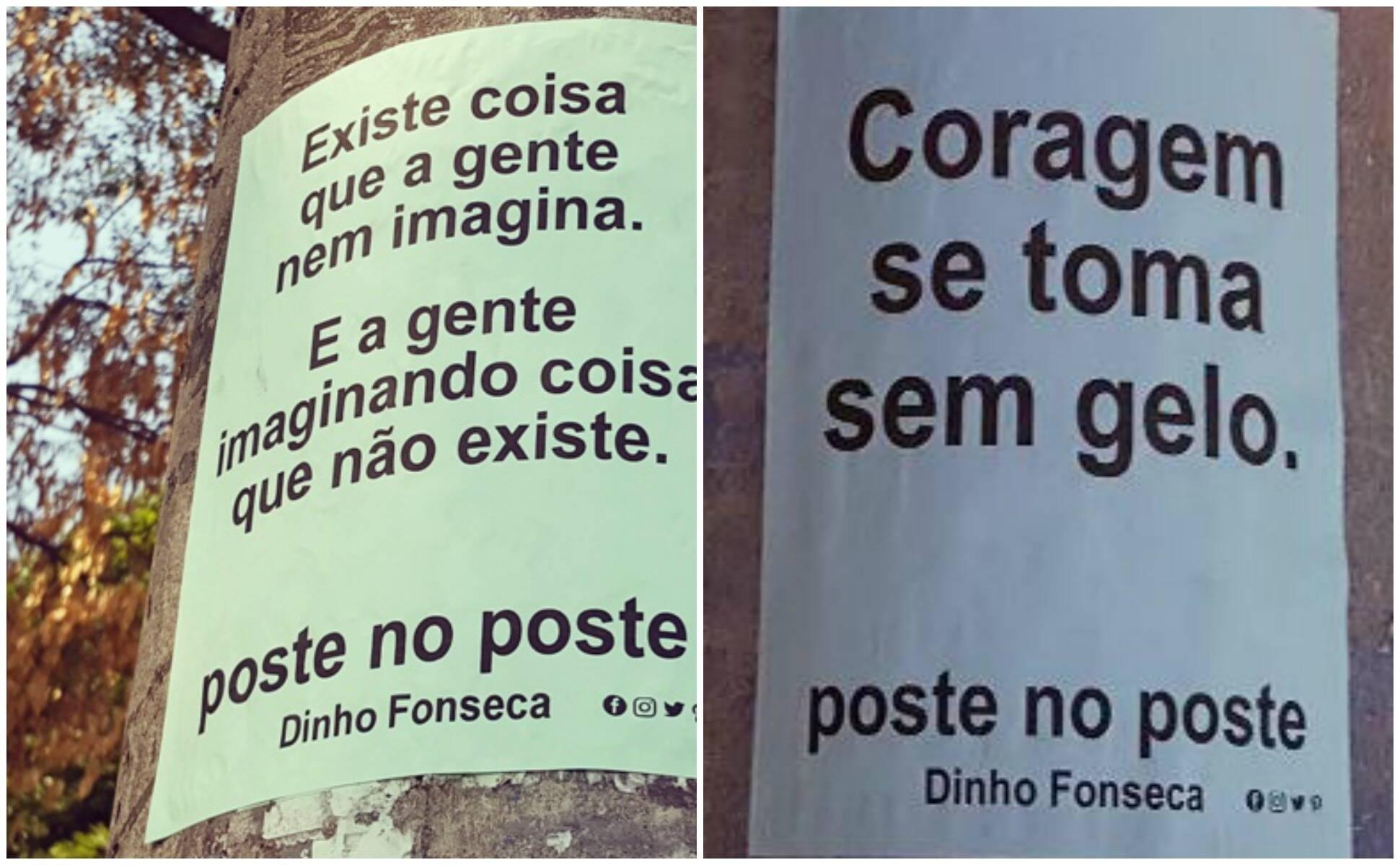 Dinho e seus poemas publicados em postes pela cidade: agora, reunidos em livro / Fotos: divulgação