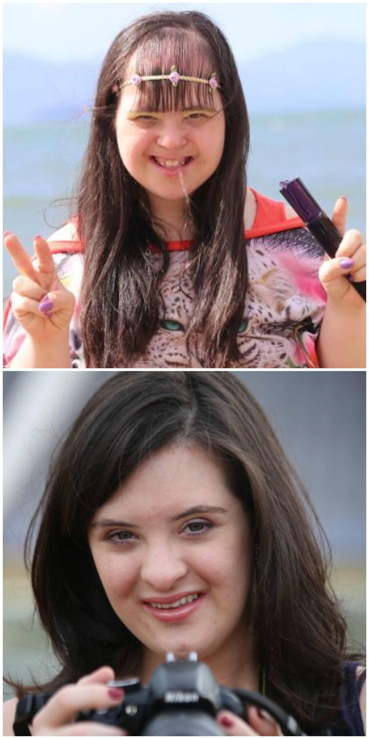 A modelo Pamela Andrades e a fotógrafa Jessica Mendes: duas das histórias reais retratadas na websérie Cromossomo 21 / Fotos: divulgação