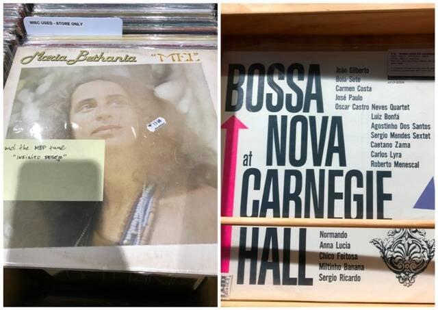 No alto, os vinis de Elis Regina com Tom Jobim e Gal Gosta; nesta foto, Maria Bethania e Carnegie Hall / Fotos: divulgação