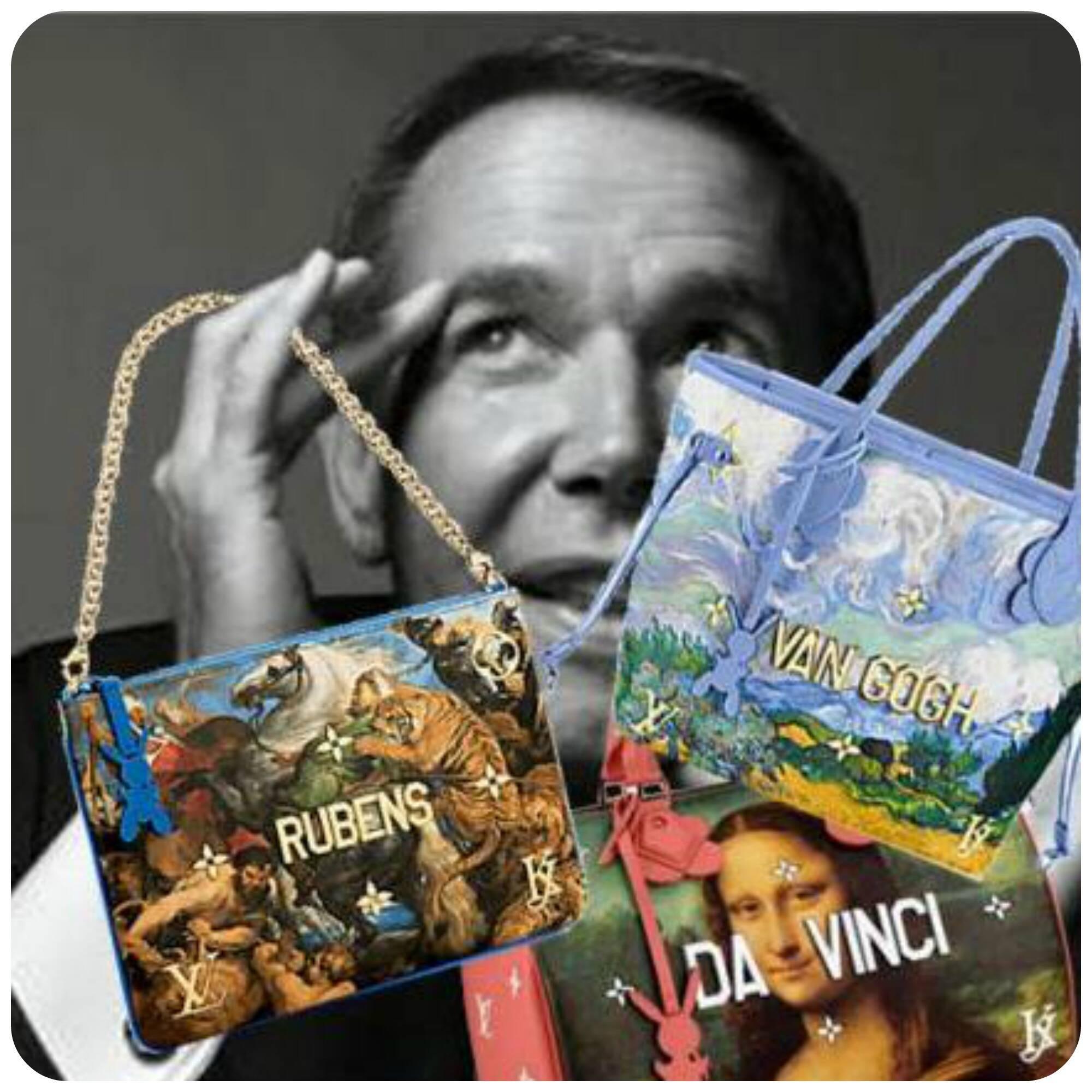 Acima, o próprioJeff Koons e suas novas e polêmicas bolsas arty para a Louis Vuitton