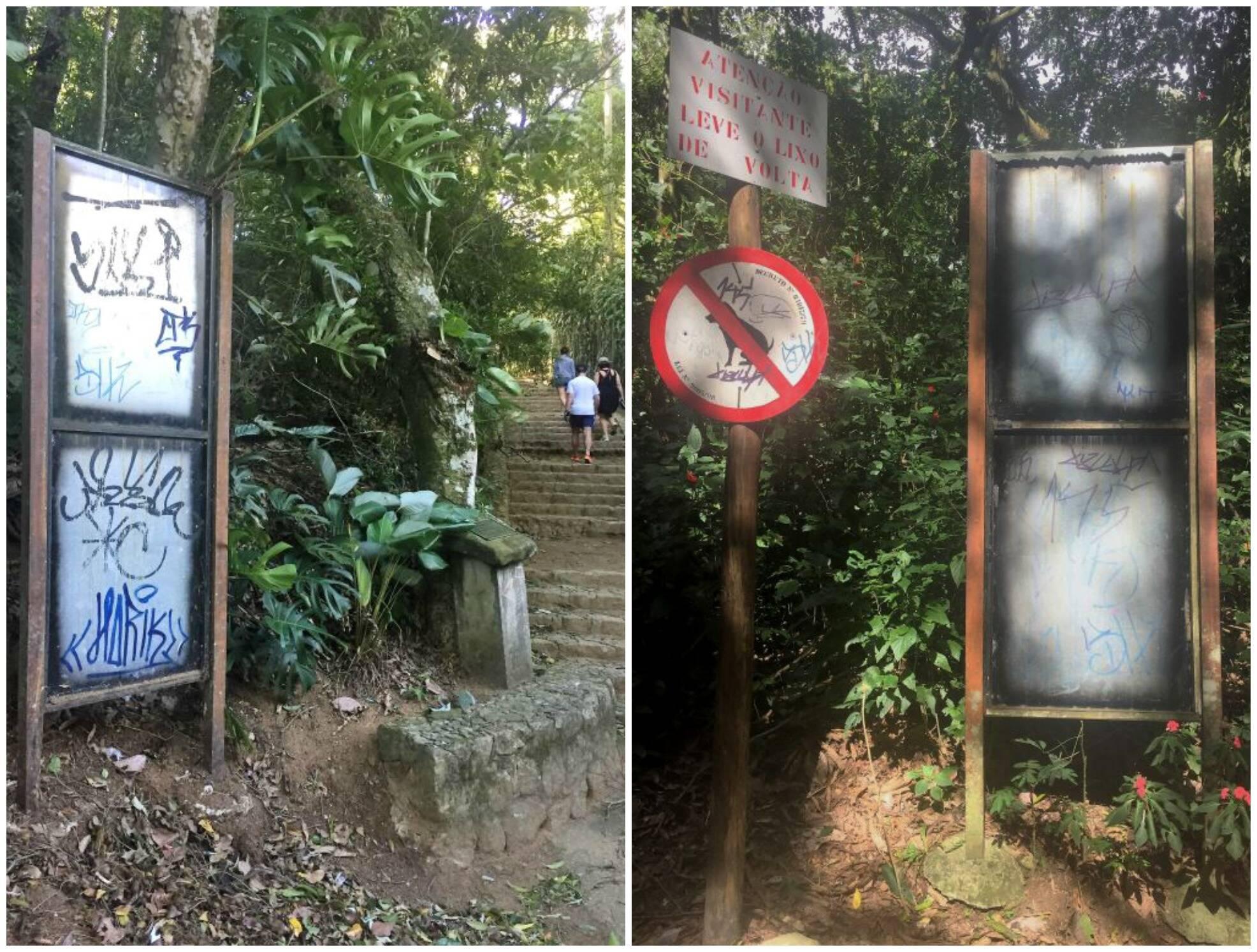 Floresta da Tijuca: placas  / Foto: amiga da coluna