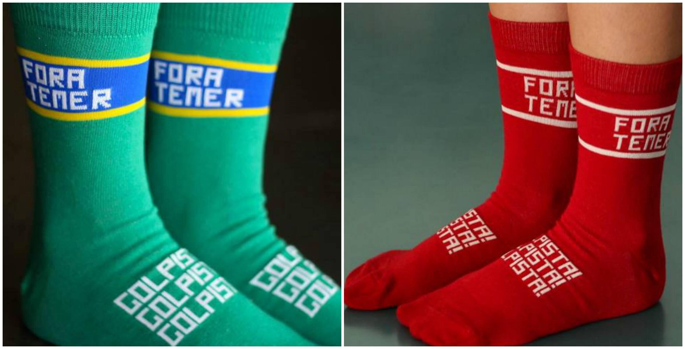 """""""Fora Temer"""": estampa das meias lançadas recentemente, em Brasília"""