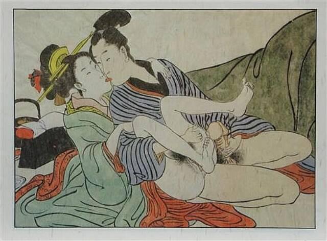 """No alto, o quadro de Adriana Varejão '""""Cena de interior II""""; no centro e acima, exemplos da pintura erótica japonesa Shagun/ Fotos: reprodução"""