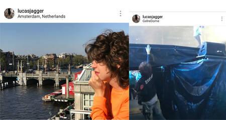 Acima, Marcelo de Carvalho e Luciana Gimenez: férias pela Europa e Lucas Jagger em dois momentos: em Amsterdan e nos bastidores do show em Arnhem, na Holanda /Fotos: Reprodução Instagram
