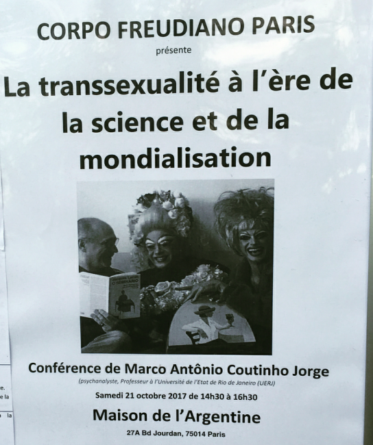 Marco Antonio Coutinho Jorge: cartaz sobre sua palestra em Paris /Foto: Reprodução