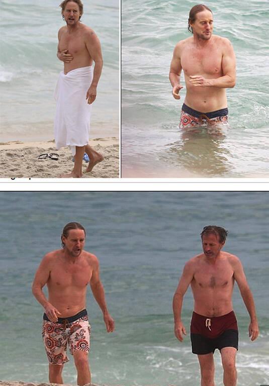 Owen Wilson: ator na praia de Ipanema com o diretor Spike Jonze /Fotos: Reprodução Daily Mail