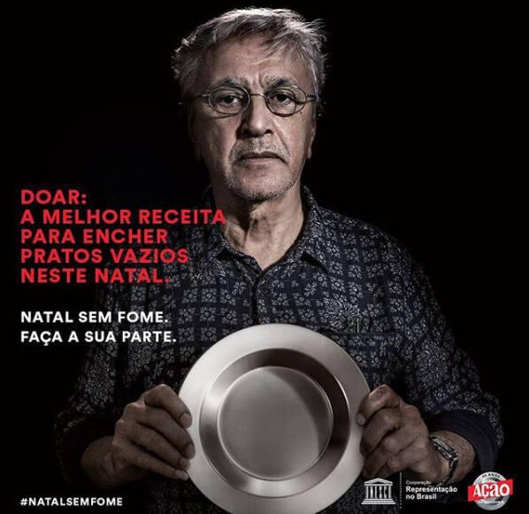 """Caetano Veloso: cantor faz campanha """"Natal sem Fome"""" /Foto: Reprodução Instagram"""