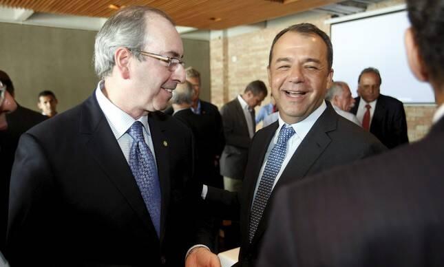 Eduardo Cunha e Sérgio Cabral: foto da Câmara, em tempos nababescos - agora vão se reencontrar em Curitiba