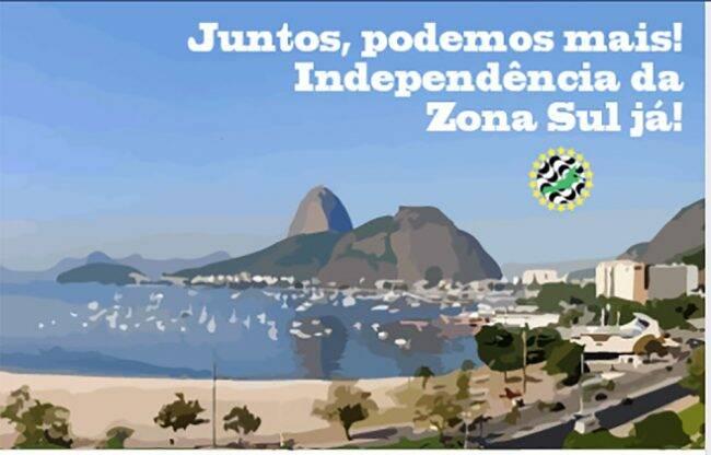 """Foto do perfil da página """"Zona Sul é o meu País"""" no Facebook /Foto: Reprodução"""