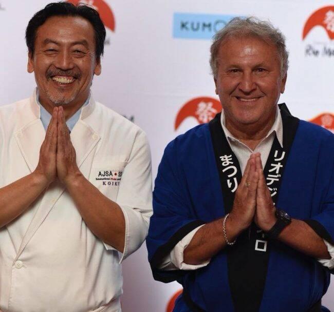 Zico e o chef Shin Koike, que vai fazer um workshop com os sabores típicos do Japão /Foto: Raphael Medeiros