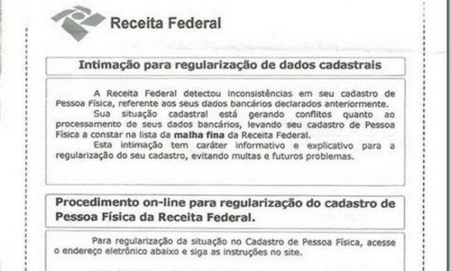 Alerta da Receita Federal: novo golpe envia cartas imitando as originais do Fisco /Foto: Reprodução